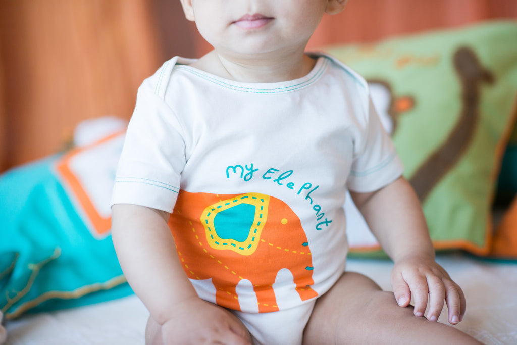 my elephant onesie, organic cotton clothing, mirasa design
