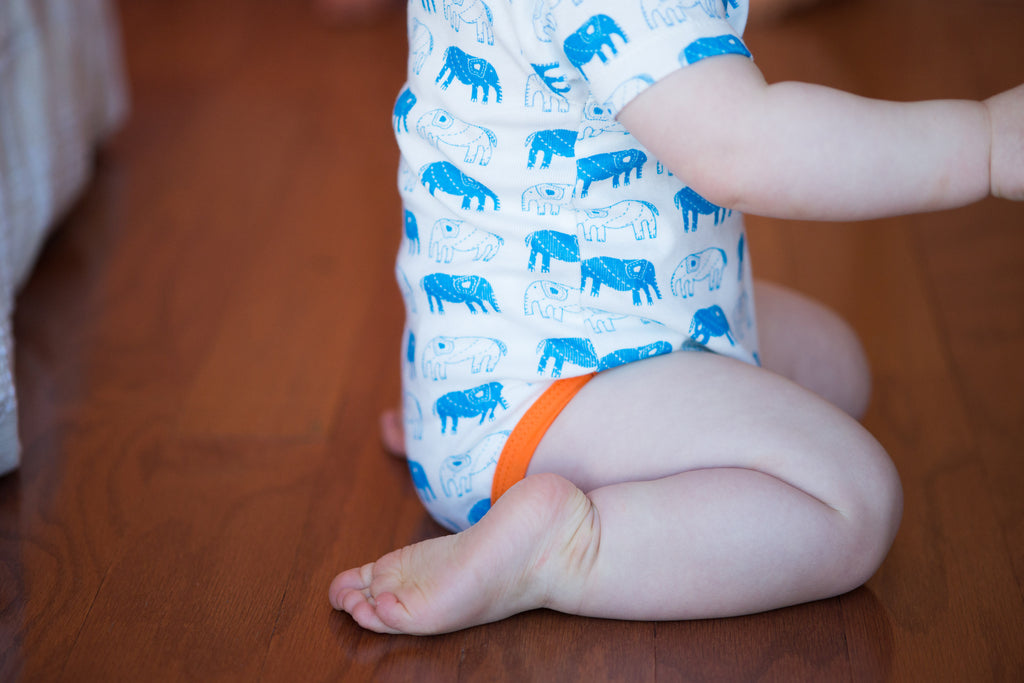 organic cotton elephant onesie, mirasa design