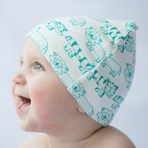 mirasa organic cotton baby beanies are fun, simple and light.