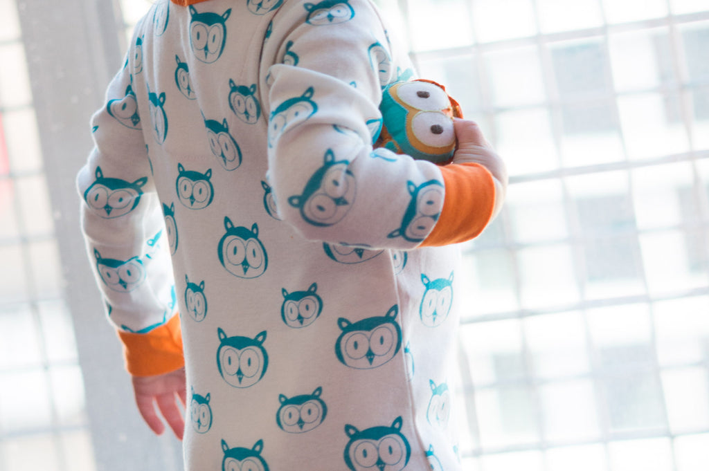 mirasa design footed owl onesie