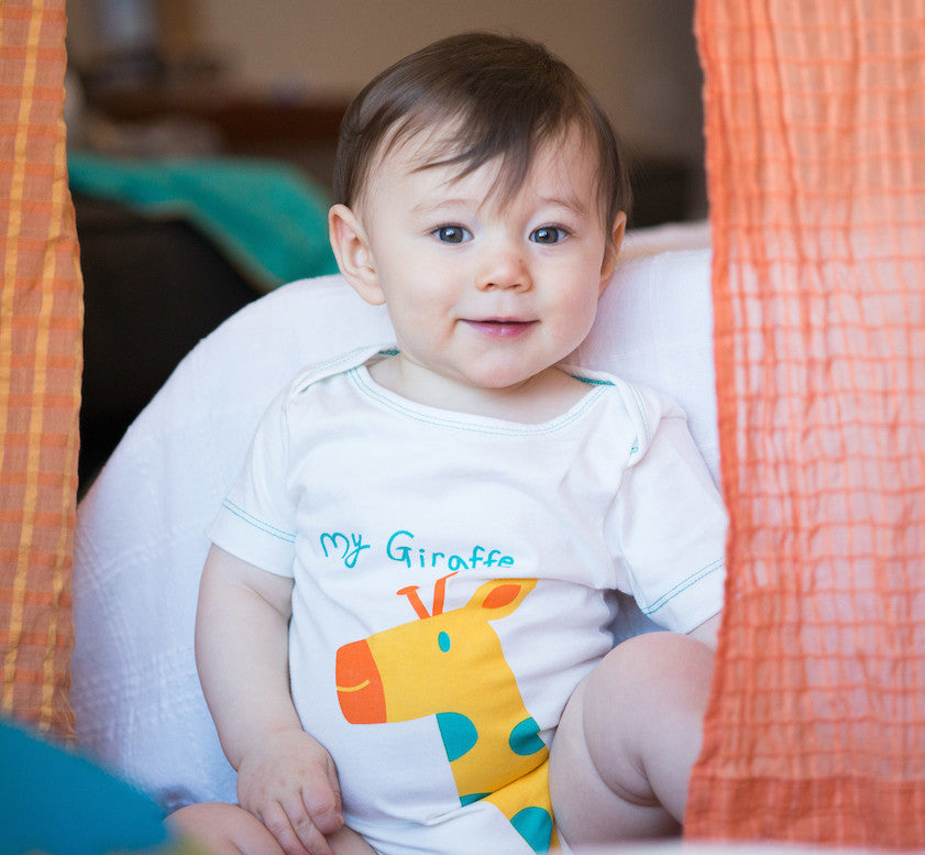 my giraffe organic cotton onesie mirasa design
