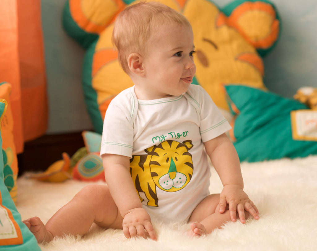 my tiger onesie, organic cotton clothing, mirasa design
