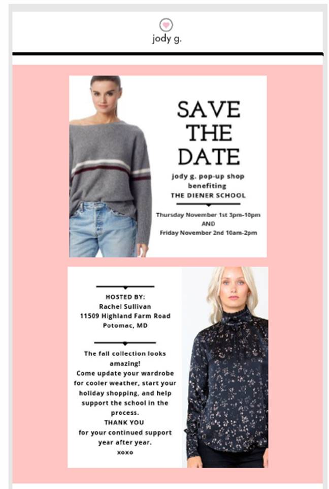 FALL POP-UP SHOP TO BENEFIT THE DIENER SCHOOL