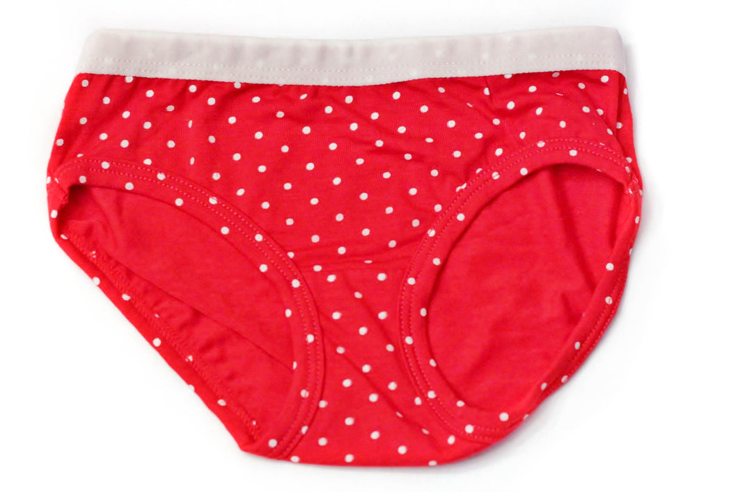 Girls Bamboo Underwear (red) - Toddler, kids, baby