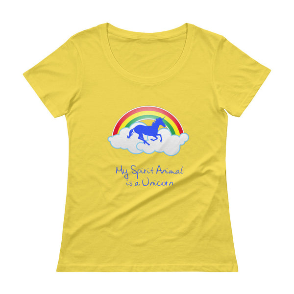 My Spirit Animal is a Unicorn Scoopneck T-Shirt - The Fairy Princess Store