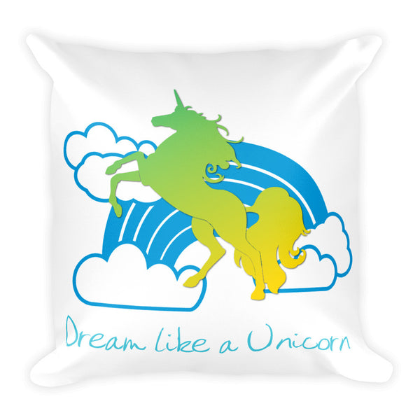 Dream like a Unicorn Square Pillow (Blue & Green) - The Fairy Princess Store