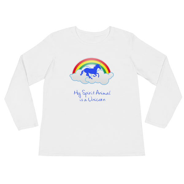 My Spirit Animal is a Unicorn Ladies' Long Sleeve T-Shirt