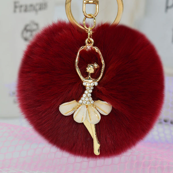 Rabbit Fur Pom Pom Fairy Keychain - The Fairy Princess Store