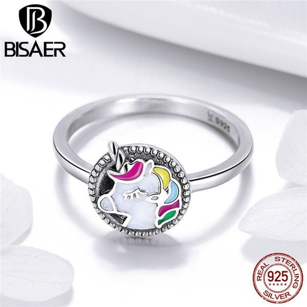 Sterling Silver Enamel Unicorn Ring