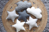 Dark Gray and White Star Pillows Set