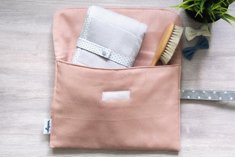 Blush Linen Diaper Clutch