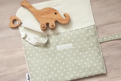 White Stars Diaper Clutch