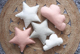 Off-White and Blush Star Pillows Set