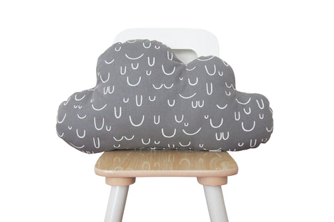 smiley gray cloud pillow