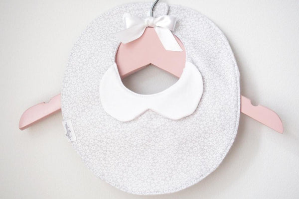 Light Gray Floral Baby Bib