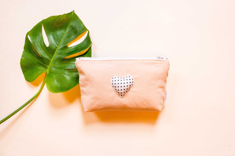 Blush Linen Makeup Bag