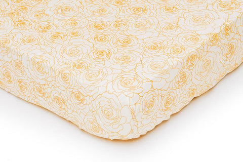 Peach and Gold Roses Crib Fitted Sheet