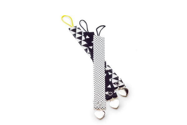 black pacifier holder set