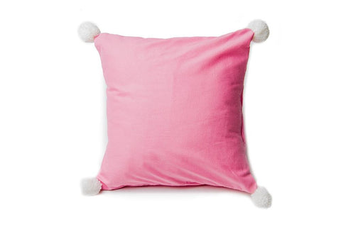Pink and White Pom poms pillow