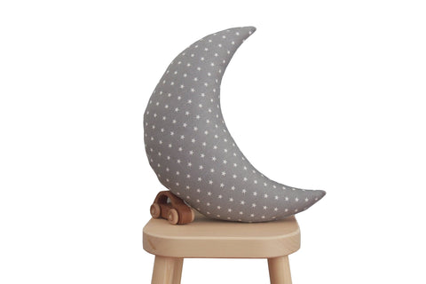 Gray with White Stars Print Moon Pillow
