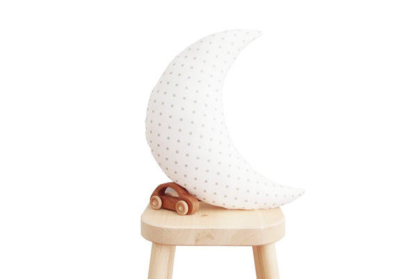 White with Gray Dots Moon Pillow