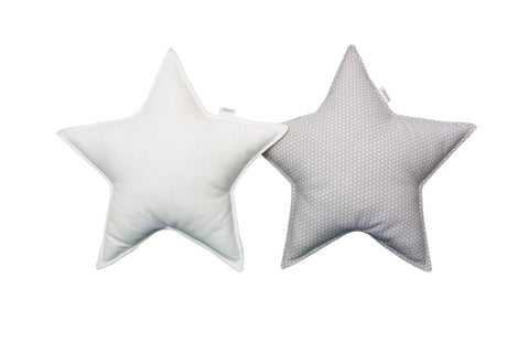 Gray white dots and White Star pillows set