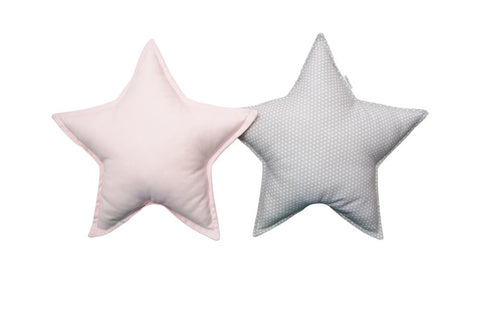 Gray White Dots and Light Pink Star pillows set