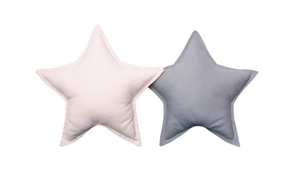 Gray and Light Pink Star pillows set