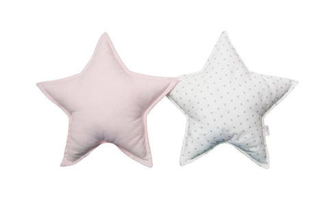 Off-Whte Gray Dots and Light Pink Star pillows set