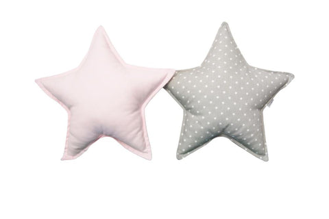 Soft Gray and Light Pink Star pillows set