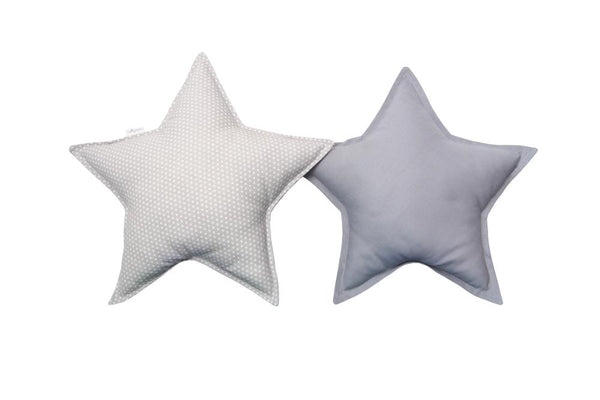 Gray and Gray with White Dots Star pillows set