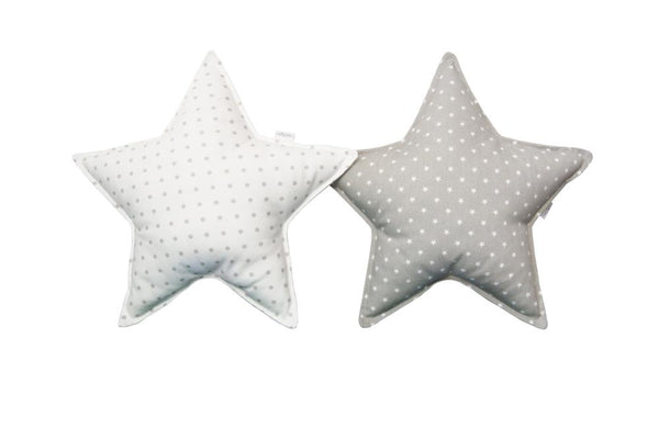 Soft Gray and Off White Star pillows set