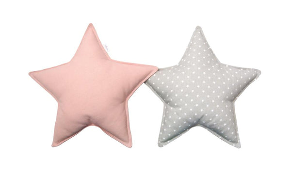 Soft Gray and Blush Star Pillows set