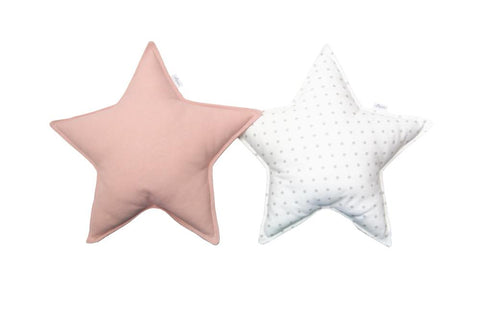 Off-White Gray Dots and Blush Star Pillows set