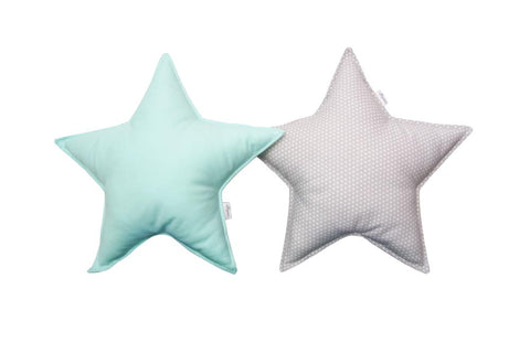 Mint and Gray White Dots Star Pillows set