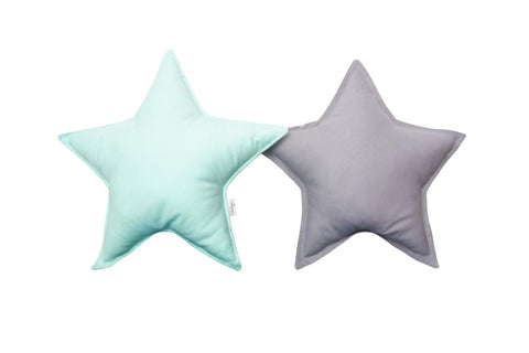 Mint and Gray Star Pillows set