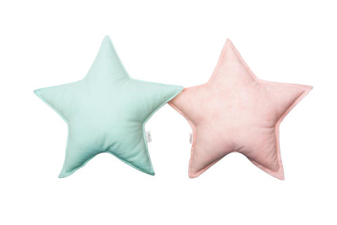Mint and Coral Star Pillows set
