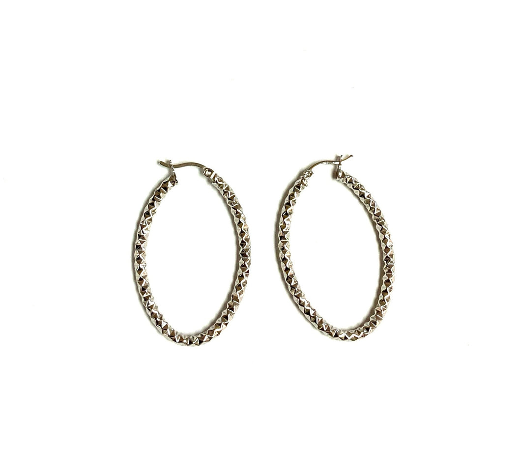 earrings hoops oval silver hammered