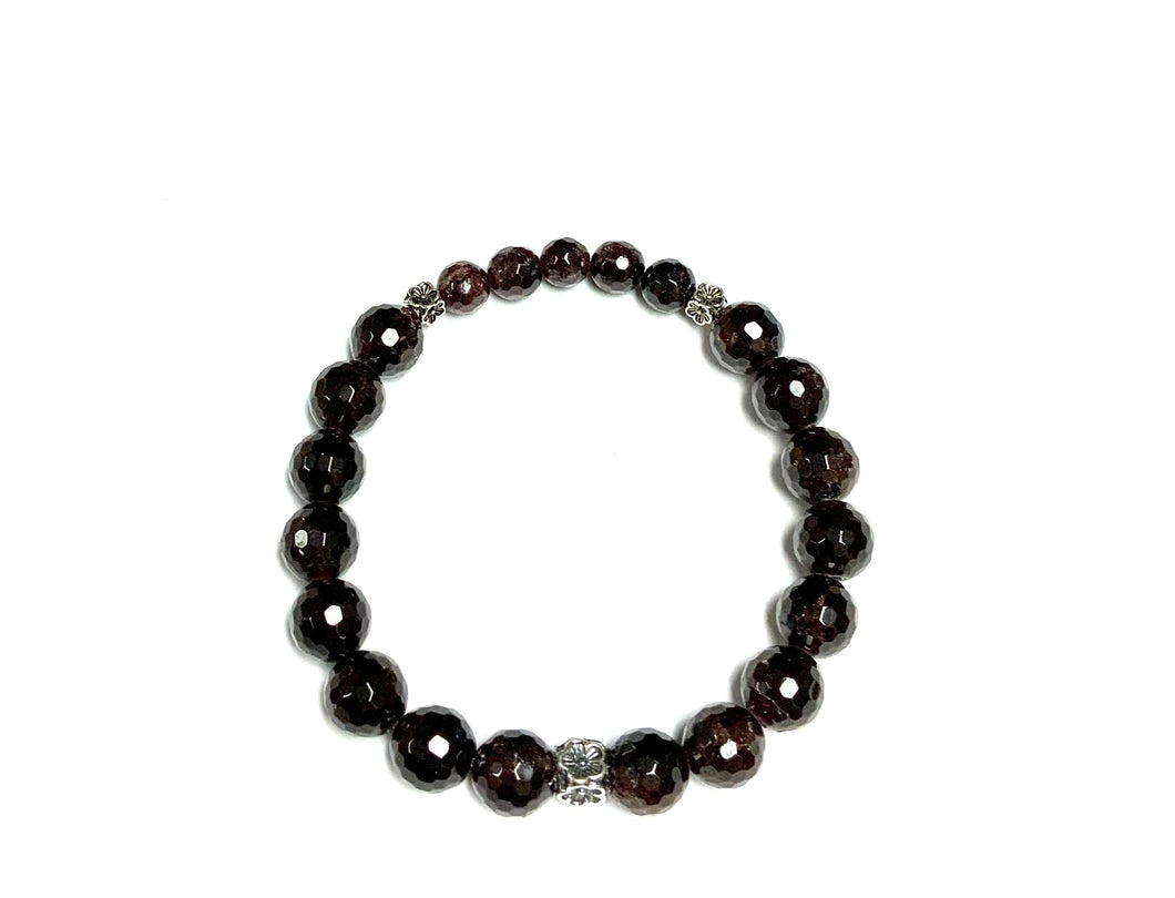 Garnet & Sterling Silver Bracelet With Flowers!