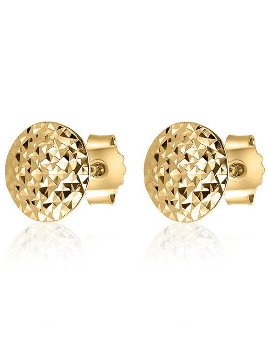 Studs stud earrings gold sparkly diamond cut
