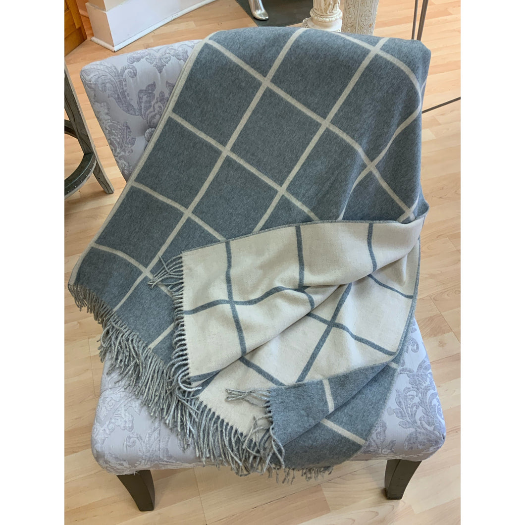 Cashmink Blanket!  Made in Germany! Reversible Grey & Cream Squares.