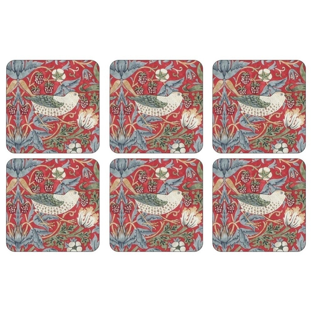 Strawberry Thief Coaster Set!  Red!