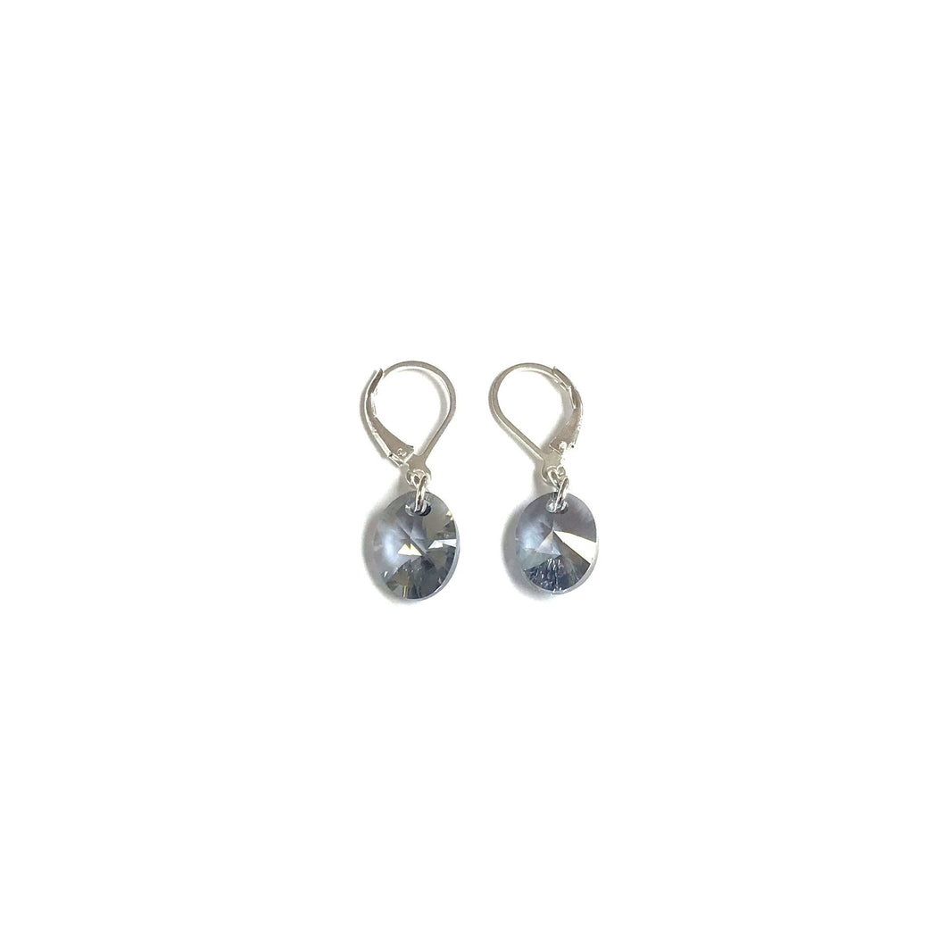 Swarovski Sterling Silver Earrings! Denim a Blue!