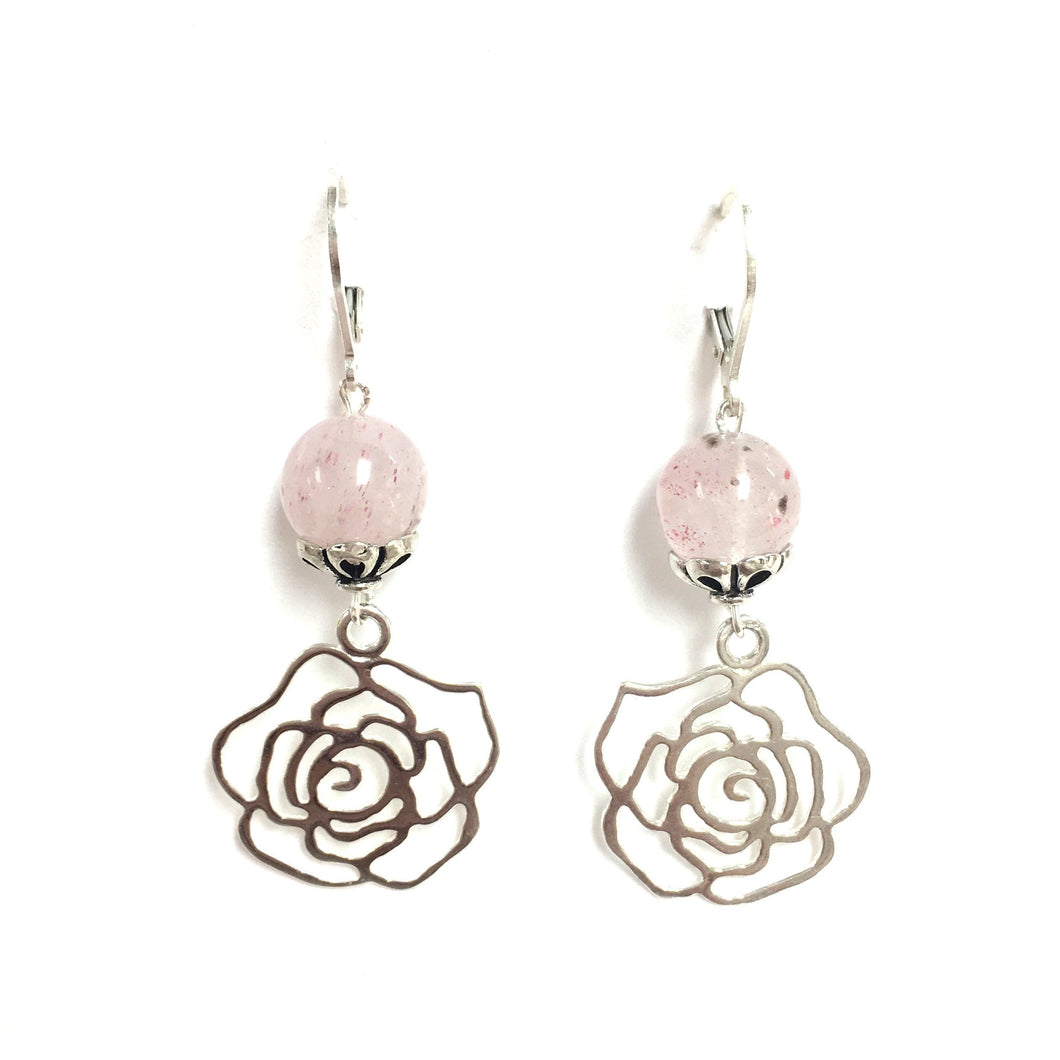 Sterling Silver Rose And Strawberry Quartz  Earrings!