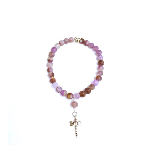 Pretty Frosted Amethyst Bracelet With Dragonfly Charm!