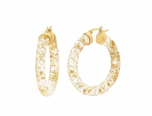 Lucite Earrings with Gold Flecks