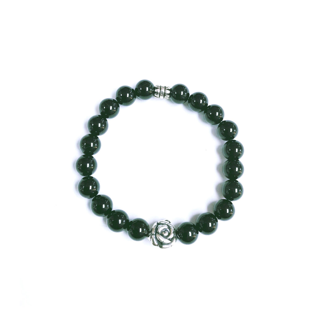 Sterling Silver & Black Onyx Stretchy Bracelet