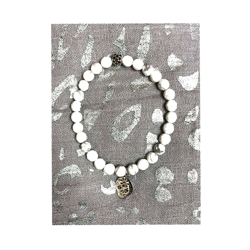 White Howlite Bracelet with Sugar Skull!