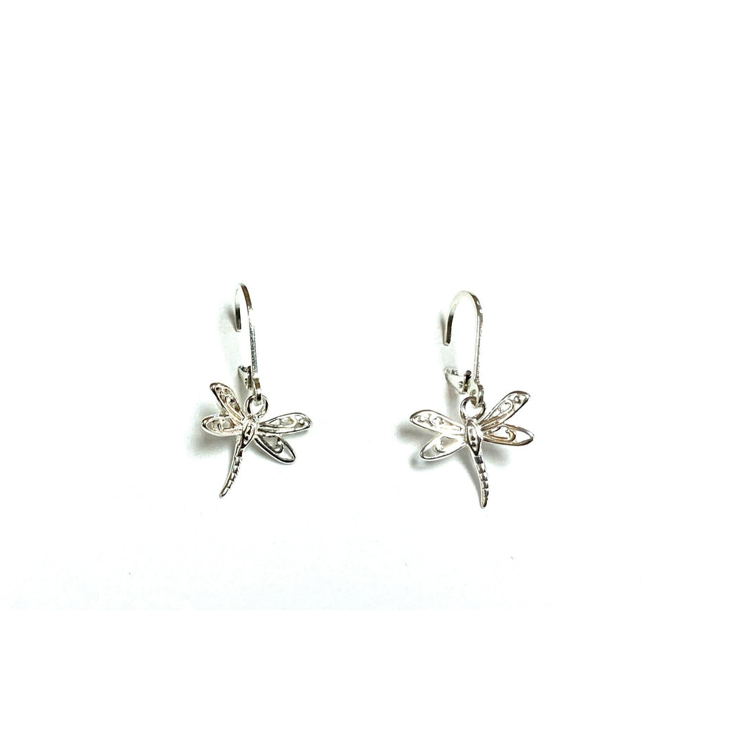 earrings french hook silver dragonfly