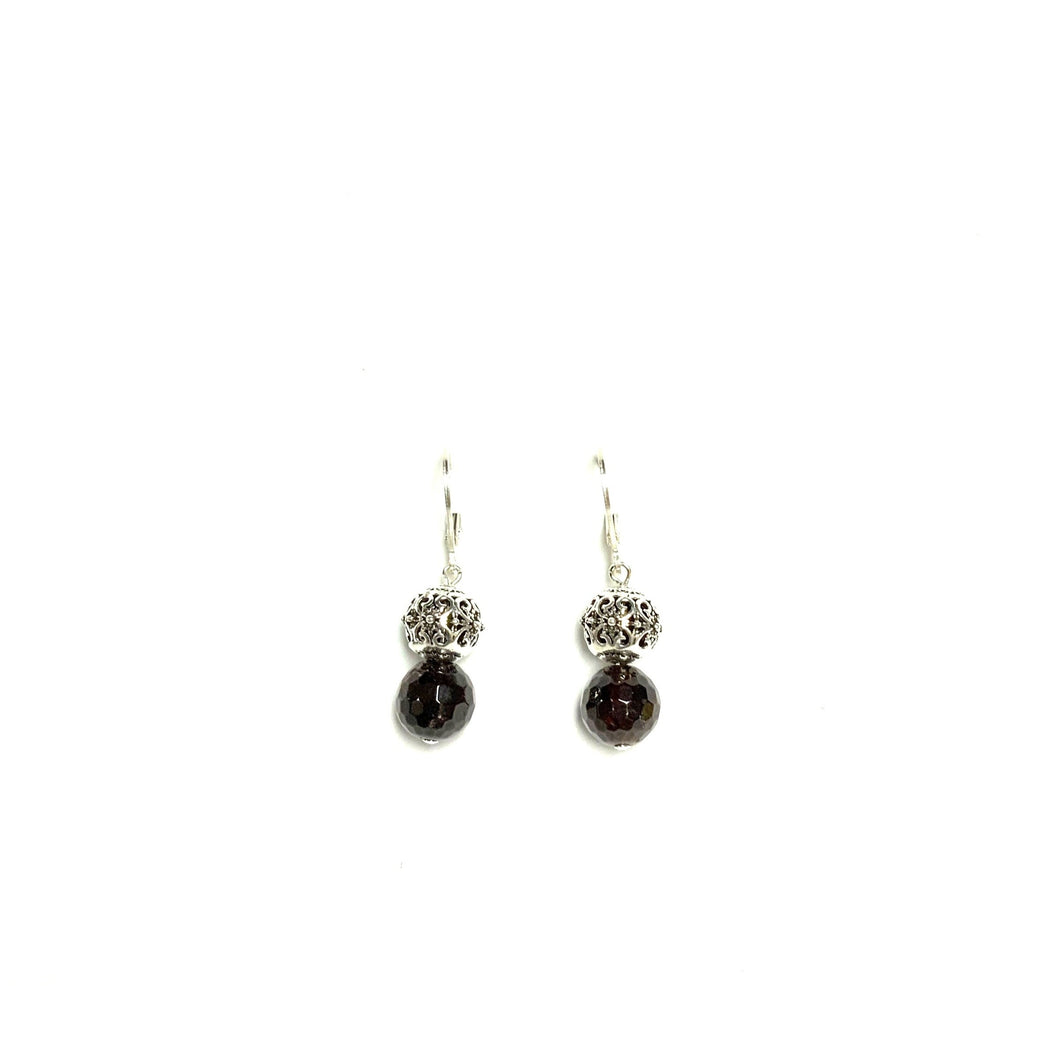 Garnet & Sterling Silver Earrings!